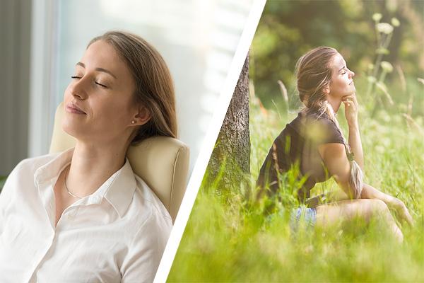 Frau entspannt im Büro und in der Natur